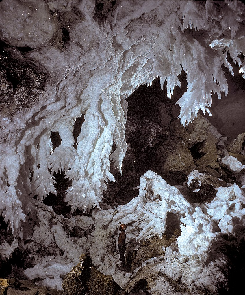 Large gypsum chandelier formations in the Chandelier Ballroom in Lechuguilla Cave.  Image copyright: Dave Bunnell